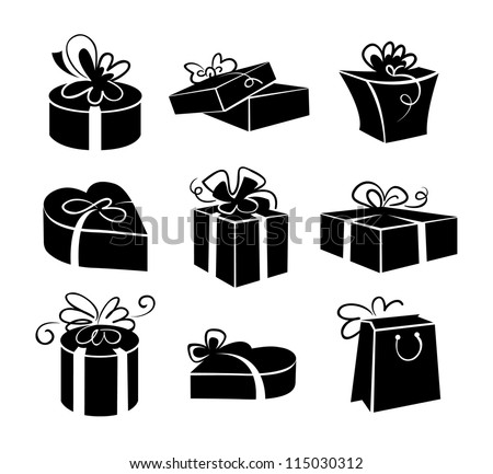 Set of gift boxes icons, black and white illustrations - stock vector