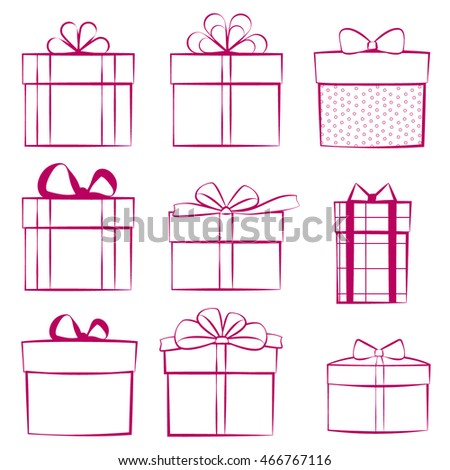 Set of gift boxes. Outlined icons isolated on white background. Collection of vector elements. Eps 10.