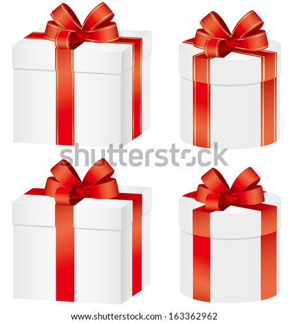 Set of gift boxes ribbons present - stock vector
