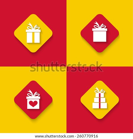 Set of gift boxes. Surprise icon. Mobile and Web Applications. Flat design. long shadows - stock vector