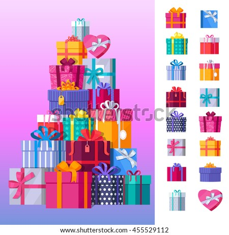 Set gift boxes vector 455529112 shutterstock set of gift boxes vector negle Gallery