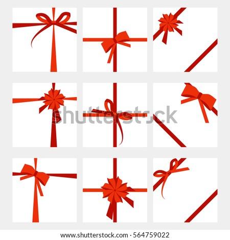 Set Gift Card Wide Present Red Stock Vector 564759022 - Shutterstock