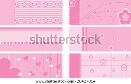 Set of gift cards for girls - stock vector