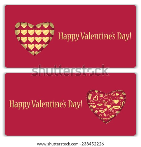 Set of gift cards with gold pattern for Valentine's Day - stock vector