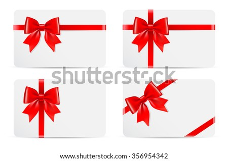 Set of gift cards with red bow and ribbons