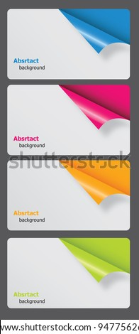 Set of gift cards with rolled corners. vector illustration - stock vector