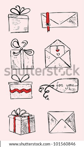 Set Of Gifts - stock vector