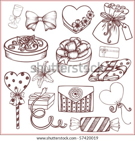 Set of gifts and celebratory ornaments (doodle) - stock vector