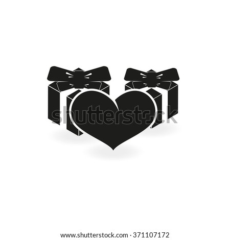 Set of gifts and heart icon. Flat illustration. - stock vector