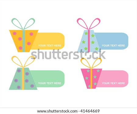 set of 4 gifts banners