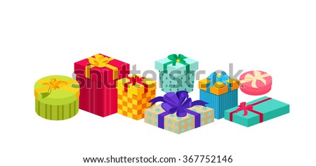 Set of gifts boxes design flat. Gift box present, ribbon and gift box vector, gift box isolated, gift box holiday christmas, gift box surprise for anniversary or birthday or xmas gift illustration - stock vector