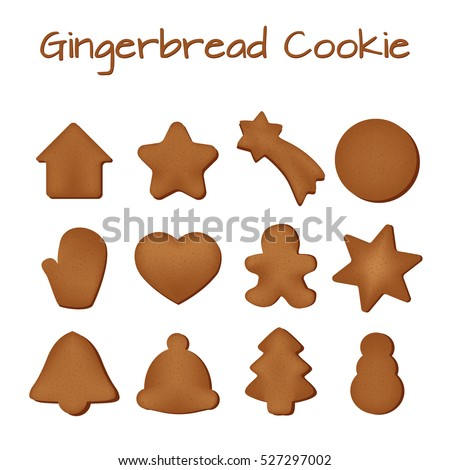 Set of gingerbread cookies on a white background.