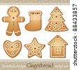 set of gingerbread, elements for christmas design, vector - stock vector