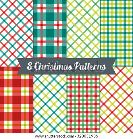 Set of Gingham Christmas Seamless Patterns in Red, Green and White. Perfect for wallpapers, pattern fills, background, textile, Christmas and New Year greeting cards - stock vector