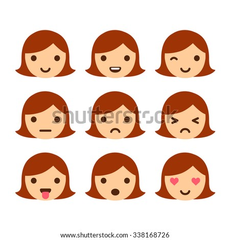 Set of 9 girl emoticons, simple and expressive cartoon female faces. Modern flat vector style. - stock vector