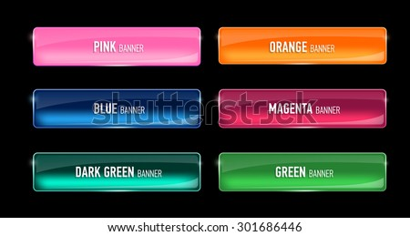 Set of glass banners for your design. Glossy buttons. Interface. Vector illustration. - stock vector