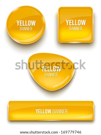 Set of glass banners for your design. Vector illustration. - stock vector