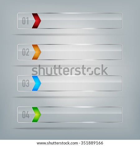 Set of glass frames for your infographics text - vector illustration