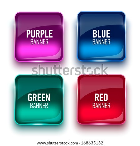 Set of glass green, blue, red and purple banners - stock vector
