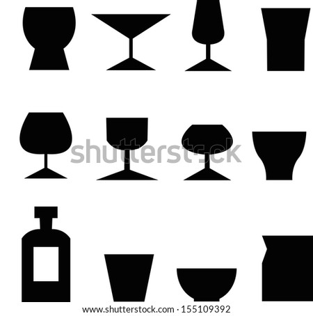 set of glass icon - stock vector