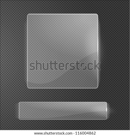 Set of glass labels on metallic surface