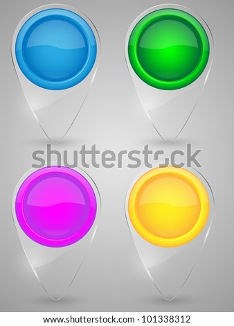 Set of glass map pointer icon. Vector illustration. - stock vector