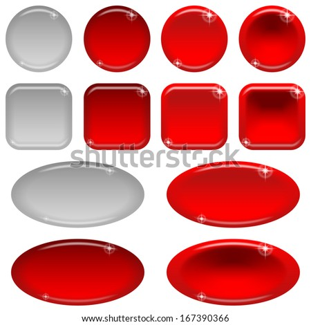 Set of glass red buttons, computer icons, in various states - normal, illuminated, clicked, inactive. Elements for web design, isolated on white background. Vector eps10, contains transparencies
