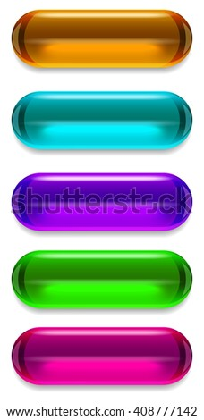 Set of glass vector buttons - stock vector