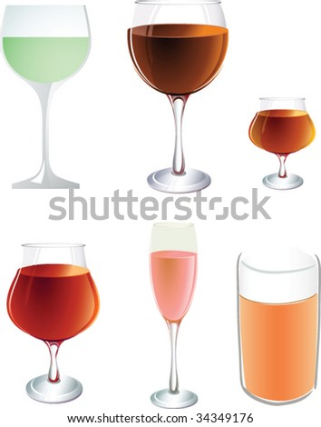 Set of glasses - stock vector