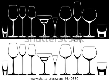 Set of glasses for alcoholic drinks - stock vector
