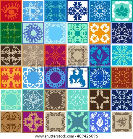 Set of Glazed Ceramic Tiles. Colorful Tiled Flooring. Mosaic with Ceramic-looking texture. Tilework with Floral, Geometric patterns. Fantasy birds, eyes, mandalas, flowers. Blue, red, green shadows. - stock vector