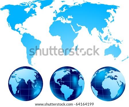 Set of globe - stock vector