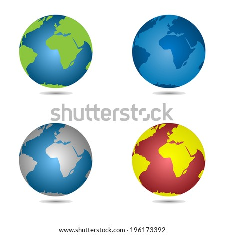 Set of globe icon on the white background. Vector.