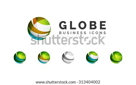 Set of globe sphere or circle logo business icons. Created with overlapping colorful abstract waves and swirl shapes - stock vector