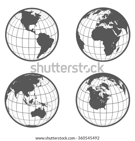 Set of globes with different continents earth  flat style - stock vector