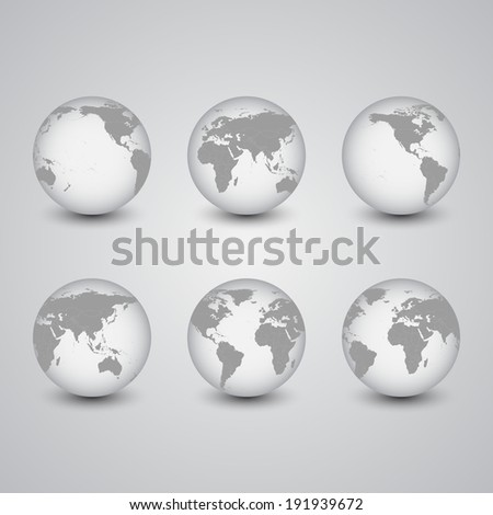 Set of globes, World Map Vector, light design vector illustration - stock vector