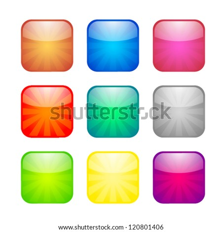 Set of glossy button icons for design - stock vector