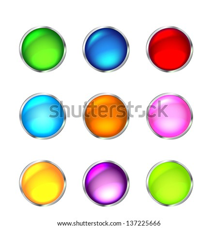 Set of glossy button icons for design. Vector illustration