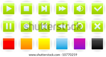 Set of glossy buttons for players (playback controls) with several color options - stock vector