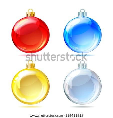 Set of Glossy Christmas balls on white background. Vector illustration. - stock vector