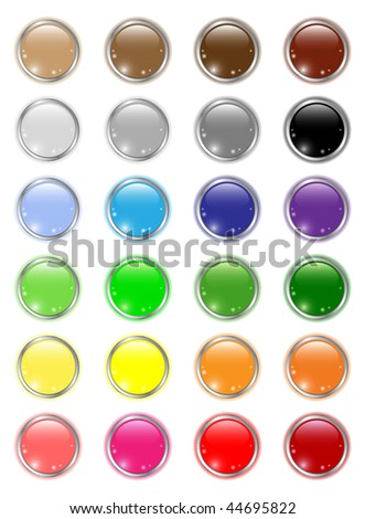 Set of glossy colored circle buttons