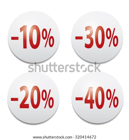 Set of glossy colored icons  -10%, -20%,-30%,-40% - stock vector