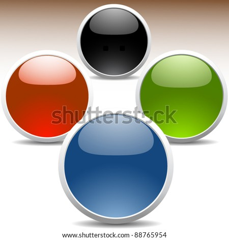 Set of glossy colored icons - stock vector