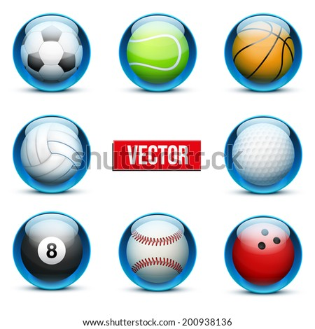 Set of Glossy Glass sports icons. Buttons and symbols for a site or application. Vector illustration and Isolated on white background. - stock vector