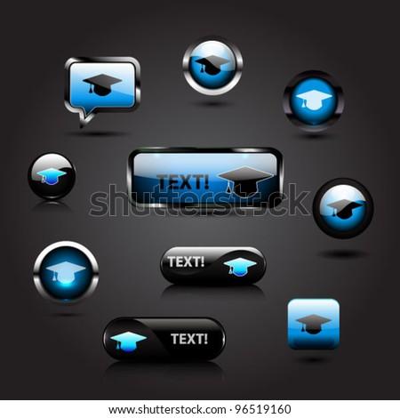 Set of glossy graduation cap icons - stock vector