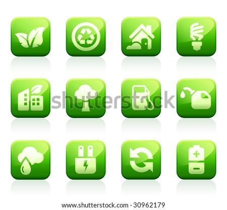 Set of 12 glossy green environmental icons - stock vector