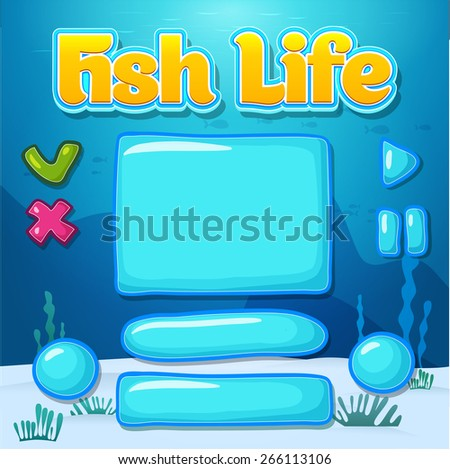 Set of glossy information panel and buttons, beautiful sparkling elements for your game design - stock vector