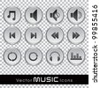 Set of glossy music web icons in black and white color on transparent background. EPS 10. Vector illustration. - stock vector