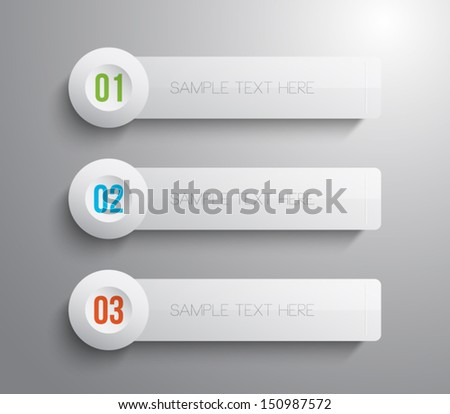 Set of glossy plastic banners template for step presentation, infographics, business design, progress, number options, websites, reports or workflow layout. Clean and modern style
