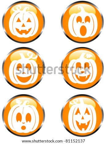 Set of Glossy Pumpkin Icons with Metallic Borders - stock vector